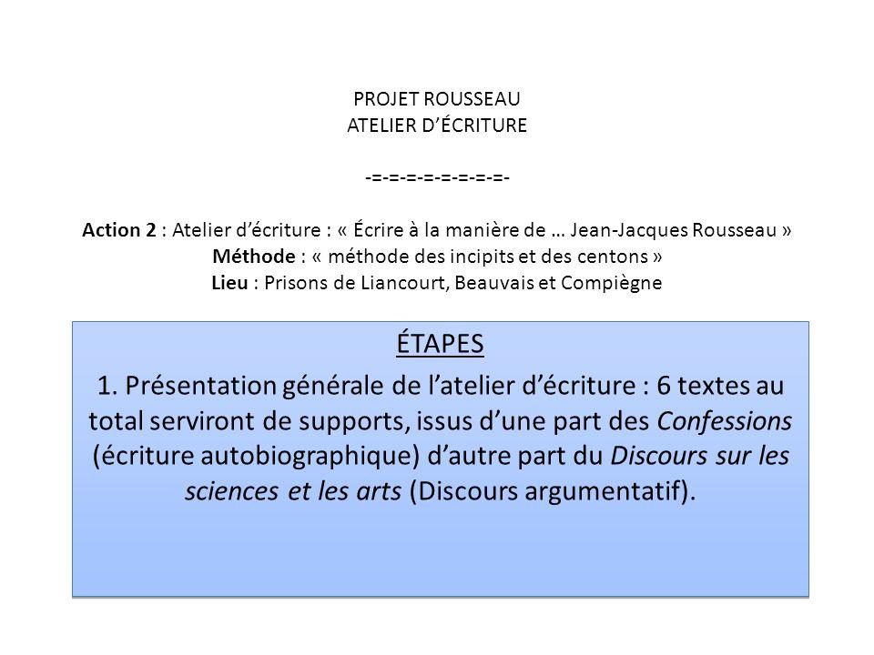 PROJET ROUSSEAU ATELIER DÉCRITURE -=-=-=-=-=-=-=-=- Action 2 : Atelier décriture : « Écrire à la manière de … Jean-Jacques Rousseau » Méthode : « méth