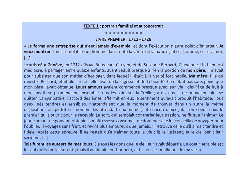 Consigne : Écrivez à la manière de Jean-Jacques Rousseau (portrait des membres de votre famille) en partant des débuts de paragraphe ci-dessous et en vous aidant du vocabulaire proposé : INCIPIT : §1 « Je forme une entreprise qui n eut jamais d exemple… §2 « Je suis né à …, en … de …..et de … §3 Mon père……….
