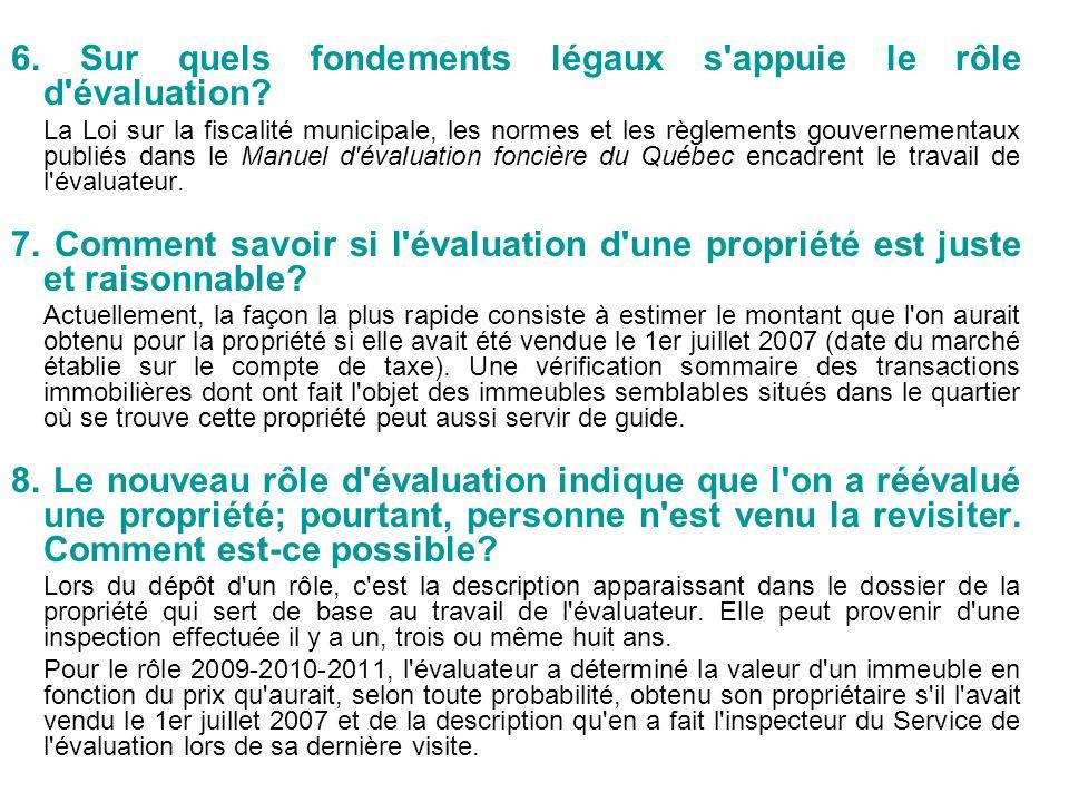 6. Sur quels fondements légaux s'appuie le rôle d'évaluation? La Loi sur la fiscalité municipale, les normes et les règlements gouvernementaux publiés
