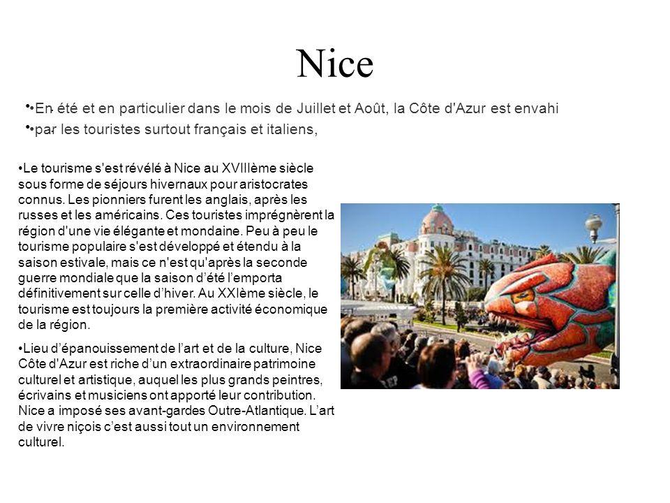 Nice. En été et en particulier dans le mois de Juillet et Août, la Côte d'Azur est envahi par les touristes surtout français et italiens, Le tourisme