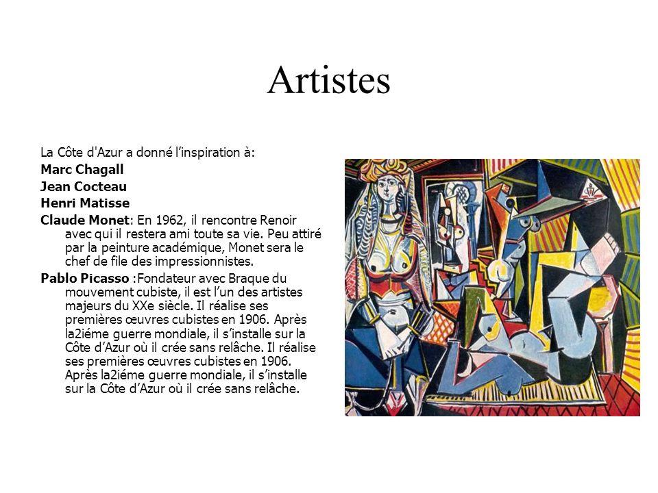 Artistes La Côte d'Azur a donné linspiration à: Marc Chagall Jean Cocteau Henri Matisse Claude Monet: En 1962, il rencontre Renoir avec qui il restera