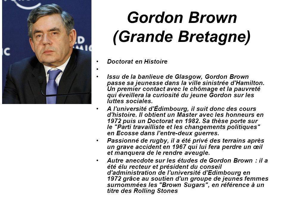 Gordon Brown (Grande Bretagne) Doctorat en Histoire Issu de la banlieue de Glasgow, Gordon Brown passe sa jeunesse dans la ville sinistrée d'Hamilton.