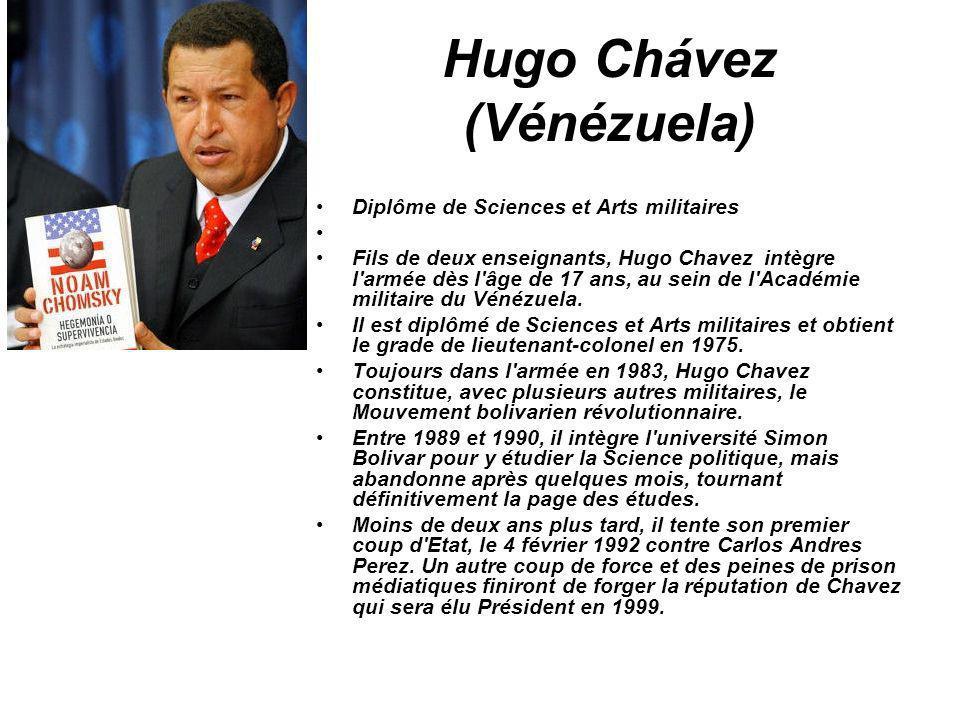Hugo Chávez (Vénézuela) Diplôme de Sciences et Arts militaires Fils de deux enseignants, Hugo Chavez intègre l'armée dès l'âge de 17 ans, au sein de l