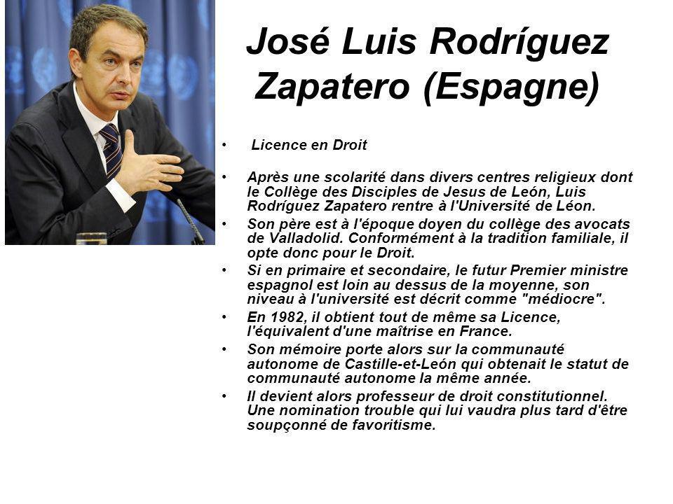 José Luis Rodríguez Zapatero (Espagne) Licence en Droit Après une scolarité dans divers centres religieux dont le Collège des Disciples de Jesus de Le