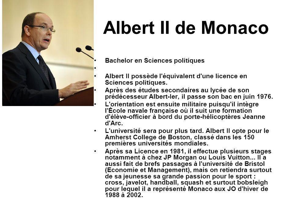 Albert II de Monaco Bachelor en Sciences politiques Albert II possède l'équivalent d'une licence en Sciences politiques. Après des études secondaires