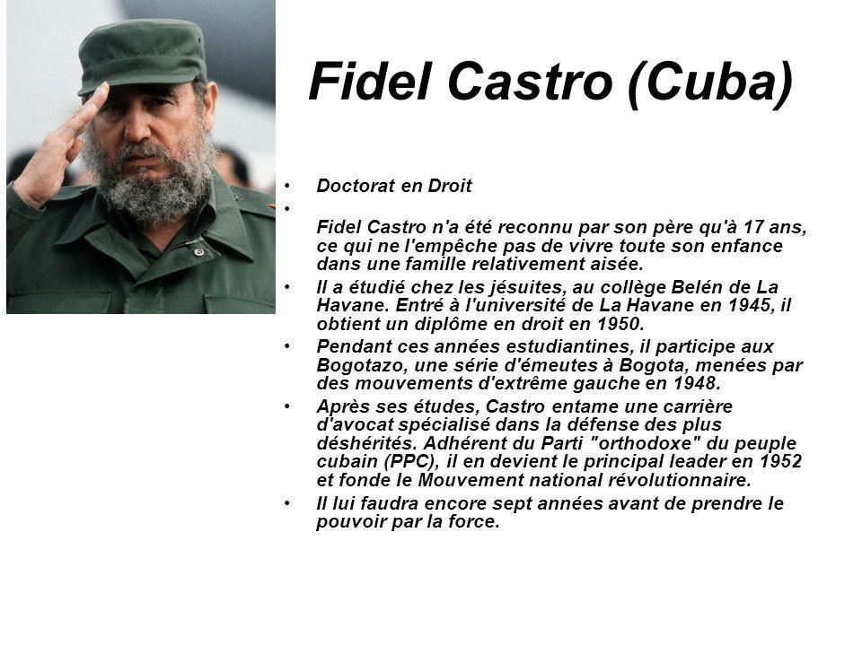 Fidel Castro (Cuba) Doctorat en Droit Fidel Castro n'a été reconnu par son père qu'à 17 ans, ce qui ne l'empêche pas de vivre toute son enfance dans u