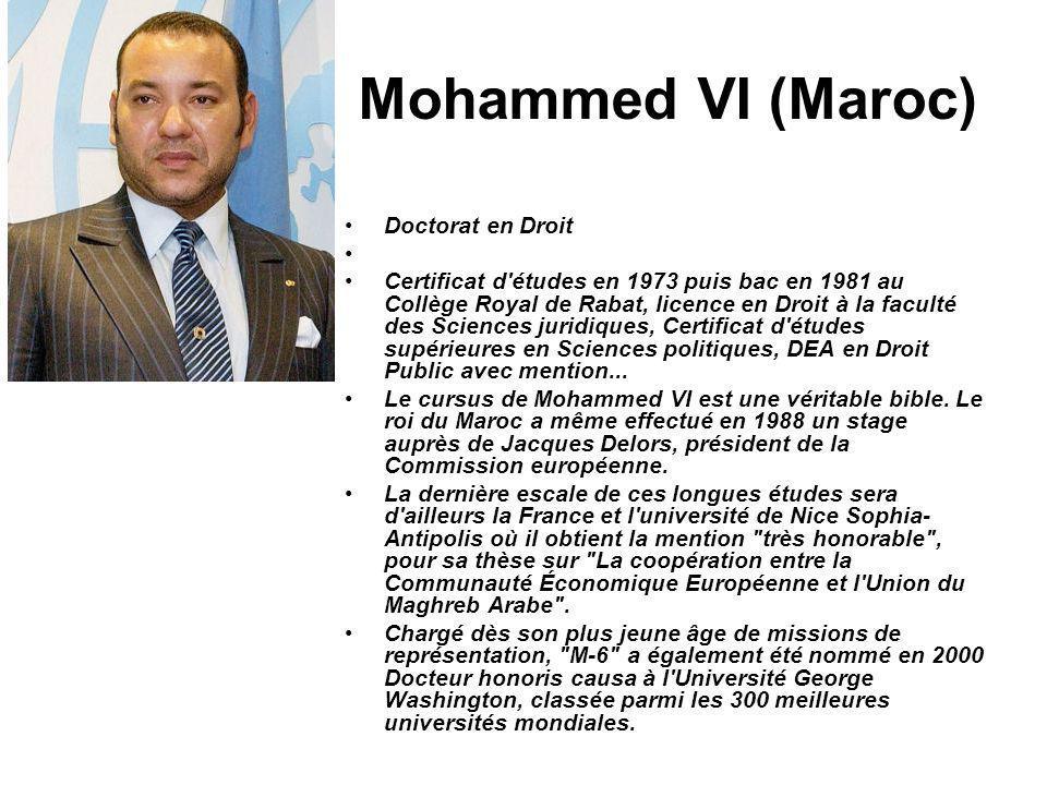 Mohammed VI (Maroc) Doctorat en Droit Certificat d'études en 1973 puis bac en 1981 au Collège Royal de Rabat, licence en Droit à la faculté des Scienc