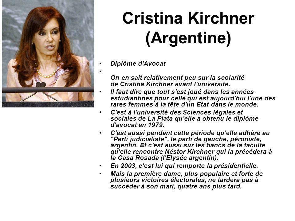Cristina Kirchner (Argentine) Diplôme d'Avocat On en sait relativement peu sur la scolarité de Cristina Kirchner avant l'université. Il faut dire que