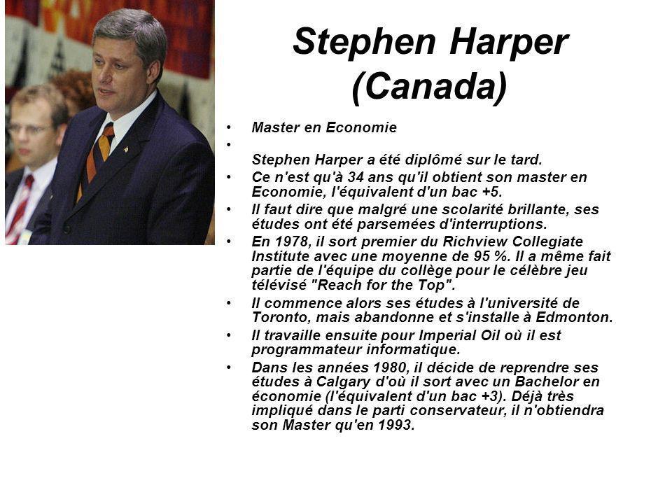 Stephen Harper (Canada) Master en Economie Stephen Harper a été diplômé sur le tard. Ce n'est qu'à 34 ans qu'il obtient son master en Economie, l'équi