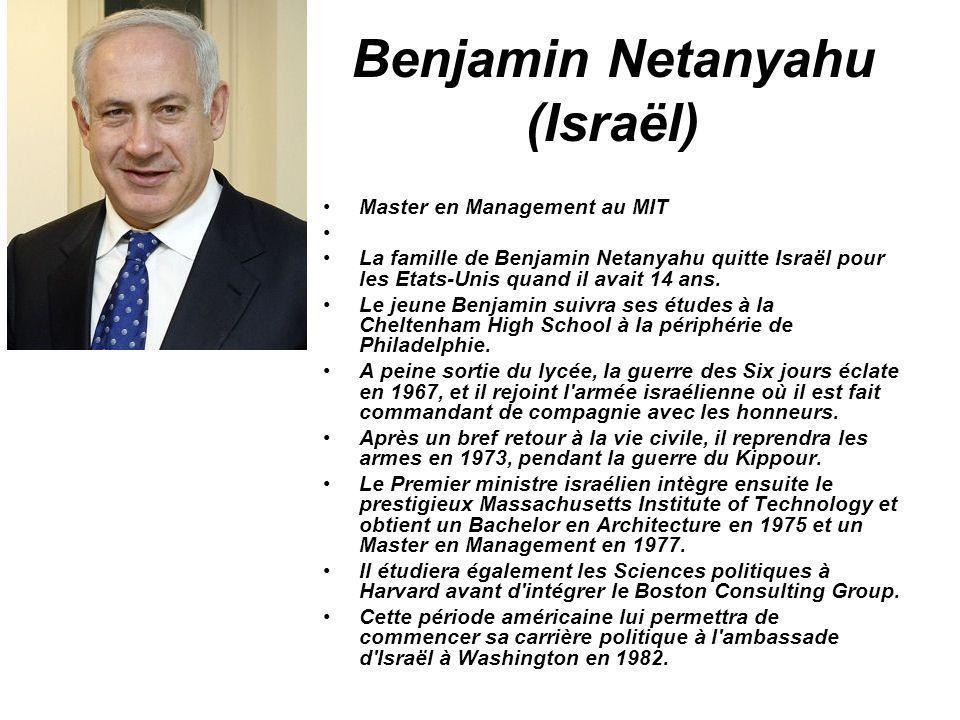 Benjamin Netanyahu (Israël) Master en Management au MIT La famille de Benjamin Netanyahu quitte Israël pour les Etats-Unis quand il avait 14 ans. Le j