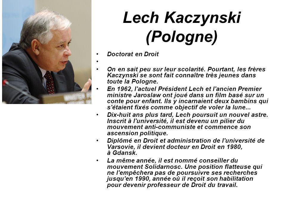 Lech Kaczynski (Pologne) Doctorat en Droit On en sait peu sur leur scolarité. Pourtant, les frères Kaczynski se sont fait connaître très jeunes dans t