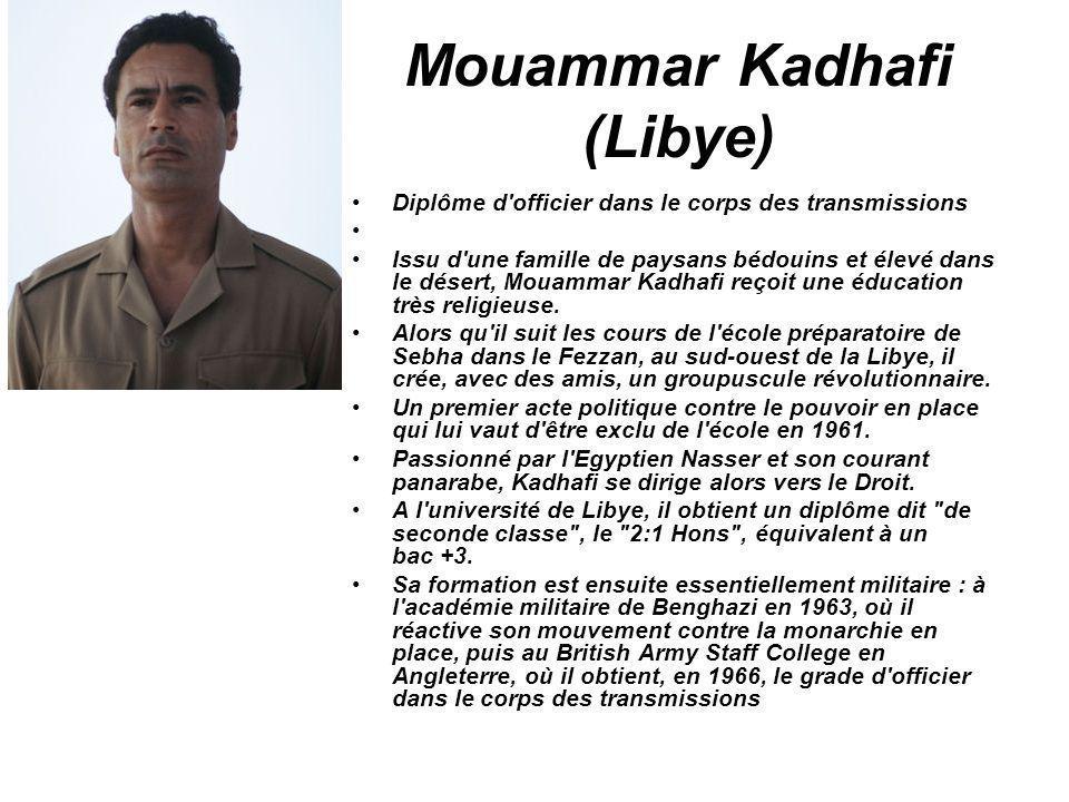 Mouammar Kadhafi (Libye) Diplôme d'officier dans le corps des transmissions Issu d'une famille de paysans bédouins et élevé dans le désert, Mouammar K