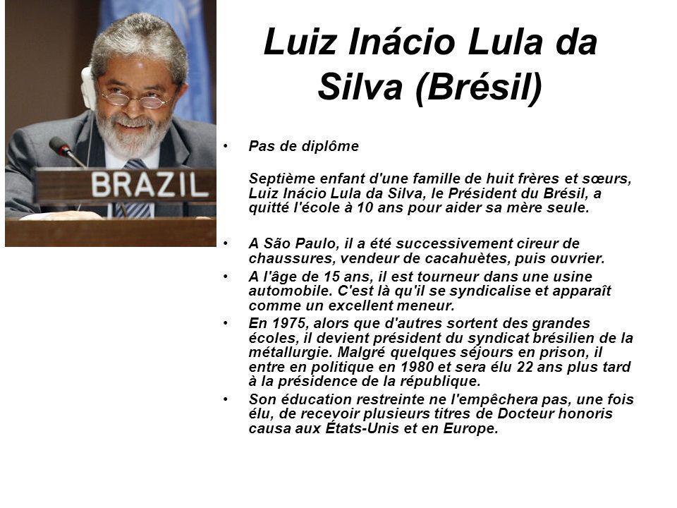 Luiz Inácio Lula da Silva (Brésil) Pas de diplôme Septième enfant d'une famille de huit frères et sœurs, Luiz Inácio Lula da Silva, le Président du Br
