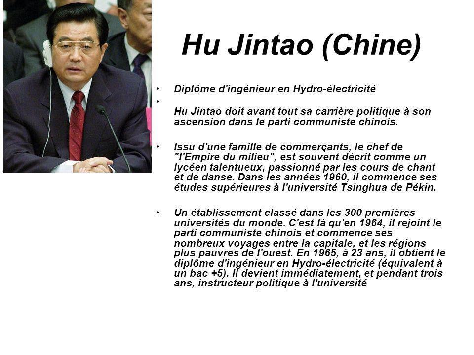 Hu Jintao (Chine) Diplôme d'ingénieur en Hydro-électricité Hu Jintao doit avant tout sa carrière politique à son ascension dans le parti communiste ch