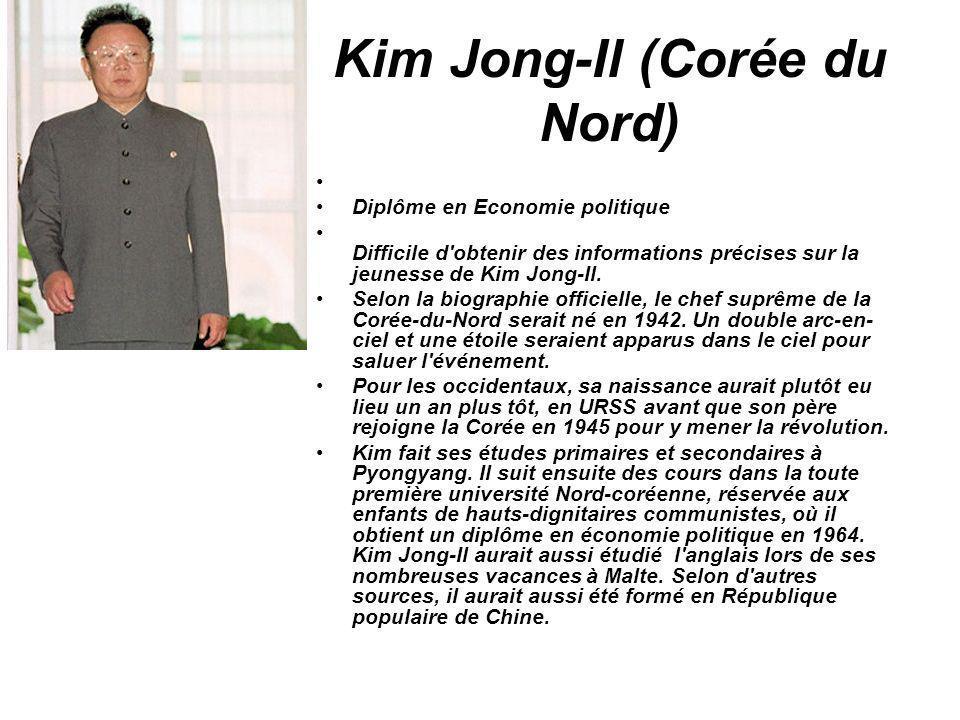 Kim Jong-Il (Corée du Nord) Diplôme en Economie politique Difficile d'obtenir des informations précises sur la jeunesse de Kim Jong-Il. Selon la biogr