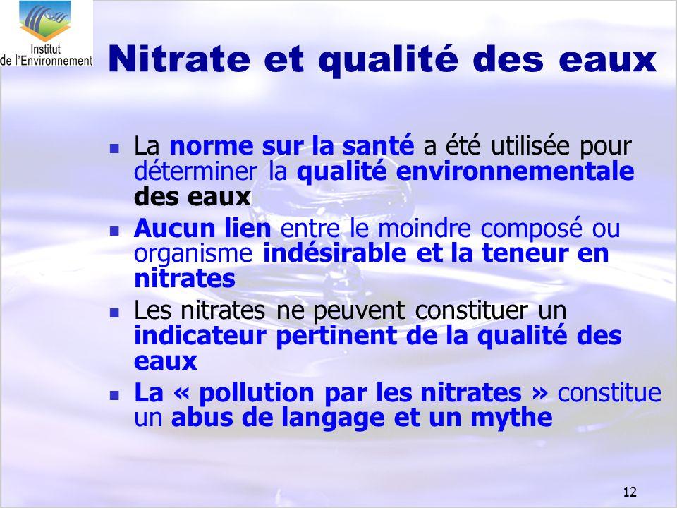 12 Nitrate et qualité des eaux La norme sur la santé a été utilisée pour déterminer la qualité environnementale des eaux Aucun lien entre le moindre c
