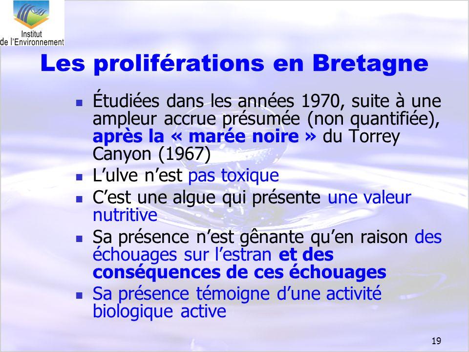 19 Les proliférations en Bretagne Étudiées dans les années 1970, suite à une ampleur accrue présumée (non quantifiée), après la « marée noire » du Tor