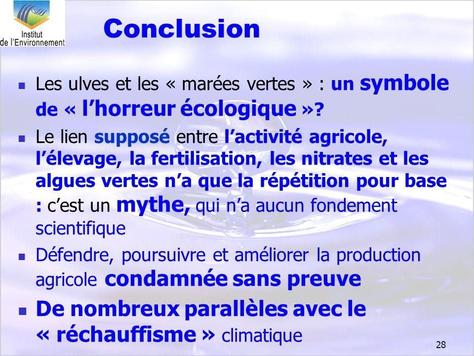 28 Conclusion Les ulves et les « marées vertes » : un symbole de « lhorreur écologique »? Le lien supposé entre lactivité agricole, lélevage, la ferti