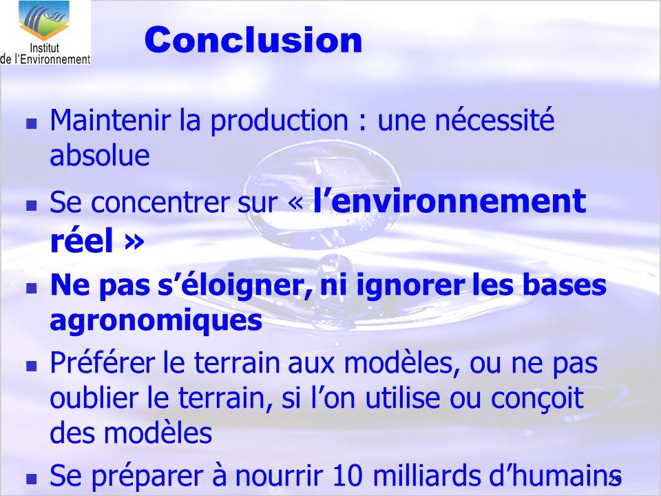 29 Conclusion Maintenir la production : une nécessité absolue Se concentrer sur « lenvironnement réel » Ne pas séloigner, ni ignorer les bases agronom
