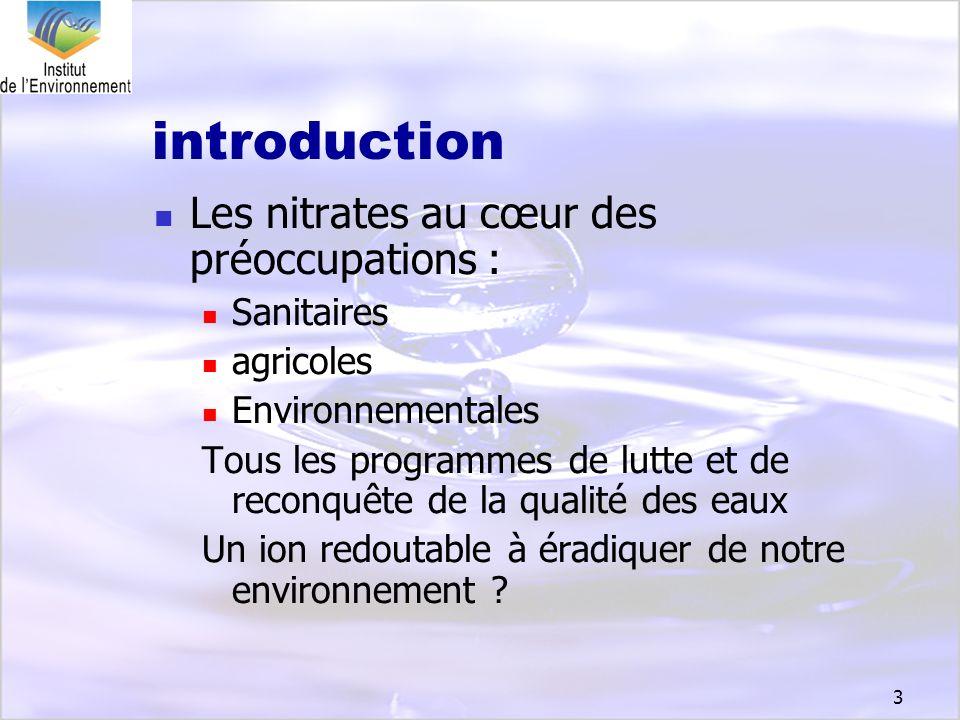3 introduction Les nitrates au cœur des préoccupations : Sanitaires agricoles Environnementales Tous les programmes de lutte et de reconquête de la qu