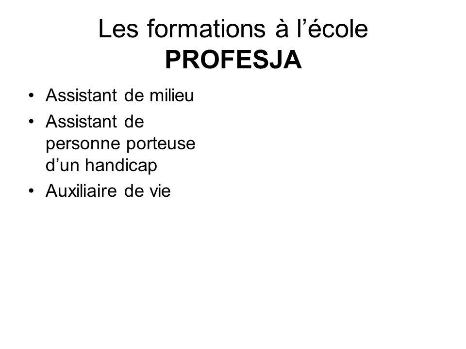 Les formations à lécole PROFESJA Assistant de milieu Assistant de personne porteuse dun handicap Auxiliaire de vie