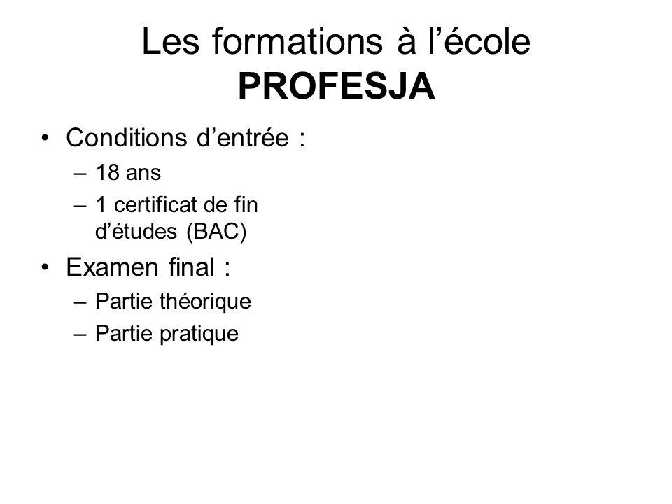 Les formations à lécole PROFESJA Conditions dentrée : –18 ans –1 certificat de fin détudes (BAC) Examen final : –Partie théorique –Partie pratique