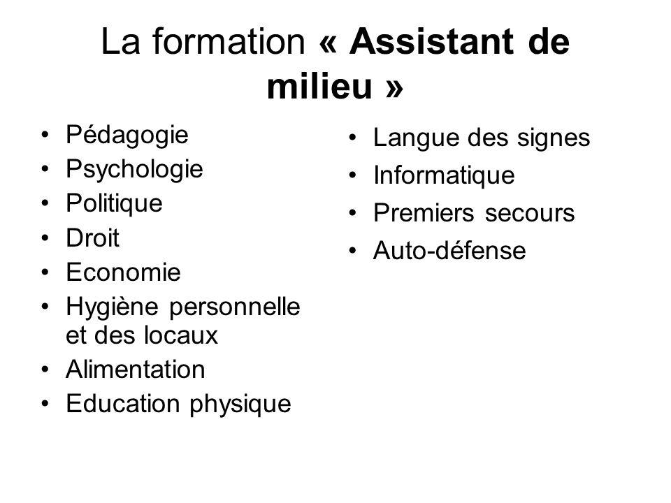 La formation « Assistant de milieu » Pédagogie Psychologie Politique Droit Economie Hygiène personnelle et des locaux Alimentation Education physique