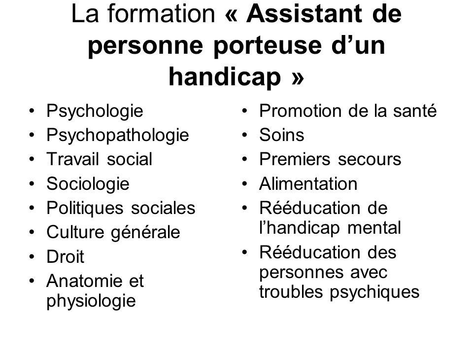 La formation « Assistant de personne porteuse dun handicap » Psychologie Psychopathologie Travail social Sociologie Politiques sociales Culture généra