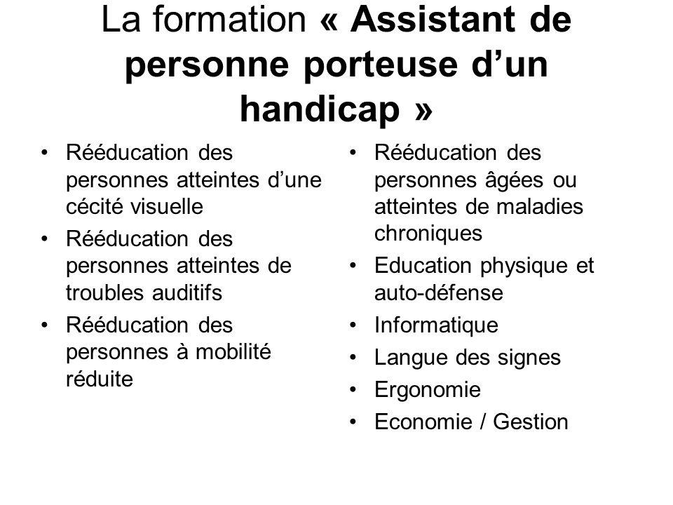 La formation « Assistant de personne porteuse dun handicap » Rééducation des personnes atteintes dune cécité visuelle Rééducation des personnes attein