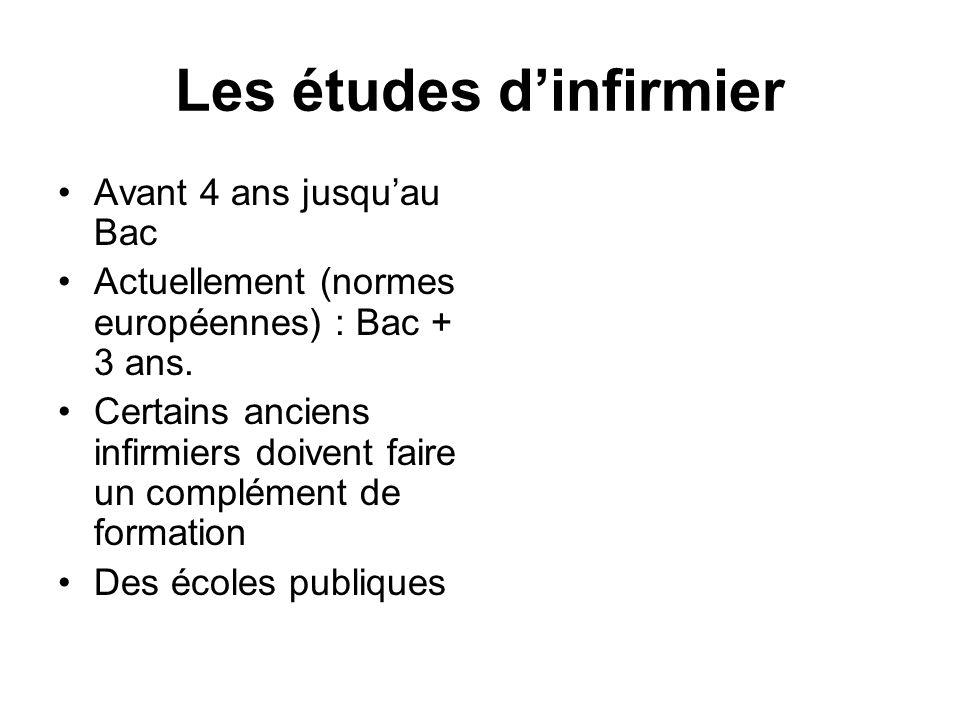 Les études dinfirmier Avant 4 ans jusquau Bac Actuellement (normes européennes) : Bac + 3 ans. Certains anciens infirmiers doivent faire un complément