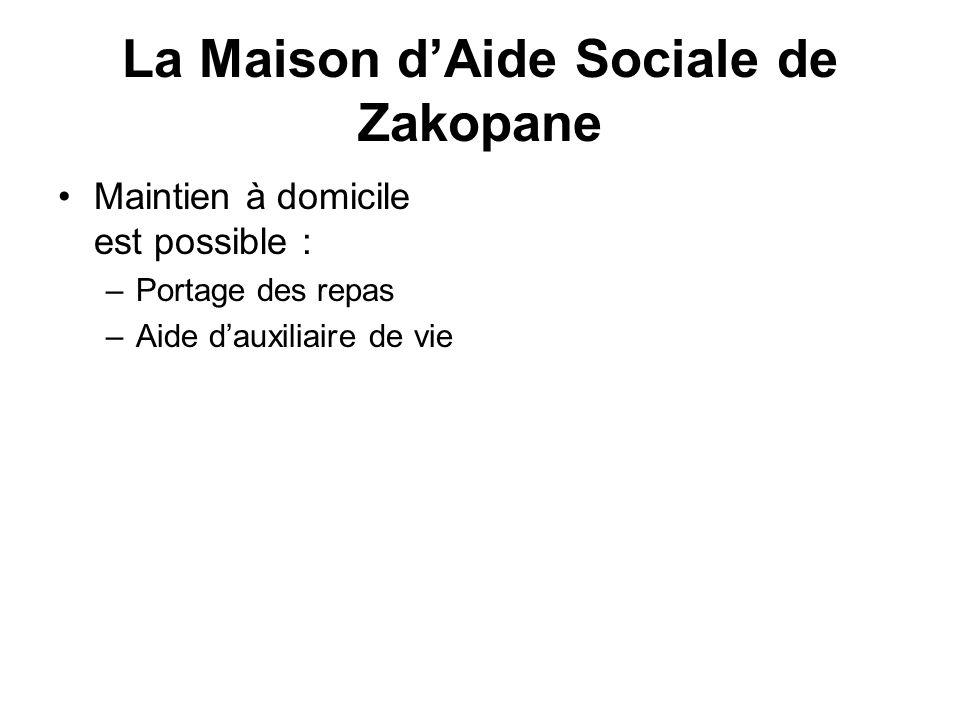 La Maison dAide Sociale de Zakopane Maintien à domicile est possible : –Portage des repas –Aide dauxiliaire de vie