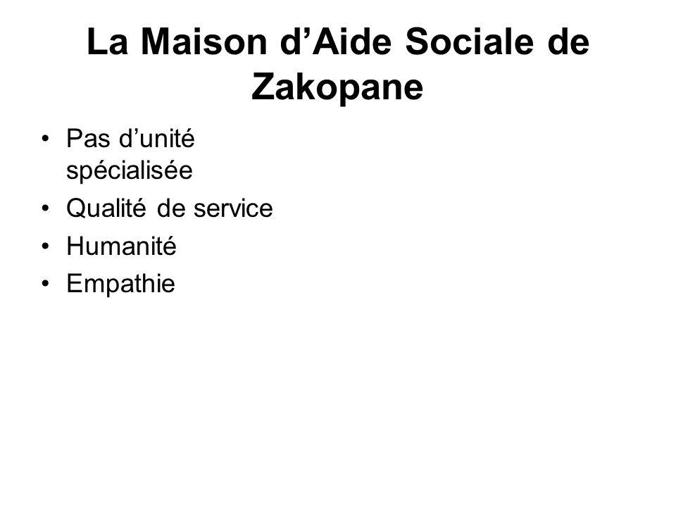 La Maison dAide Sociale de Zakopane Pas dunité spécialisée Qualité de service Humanité Empathie