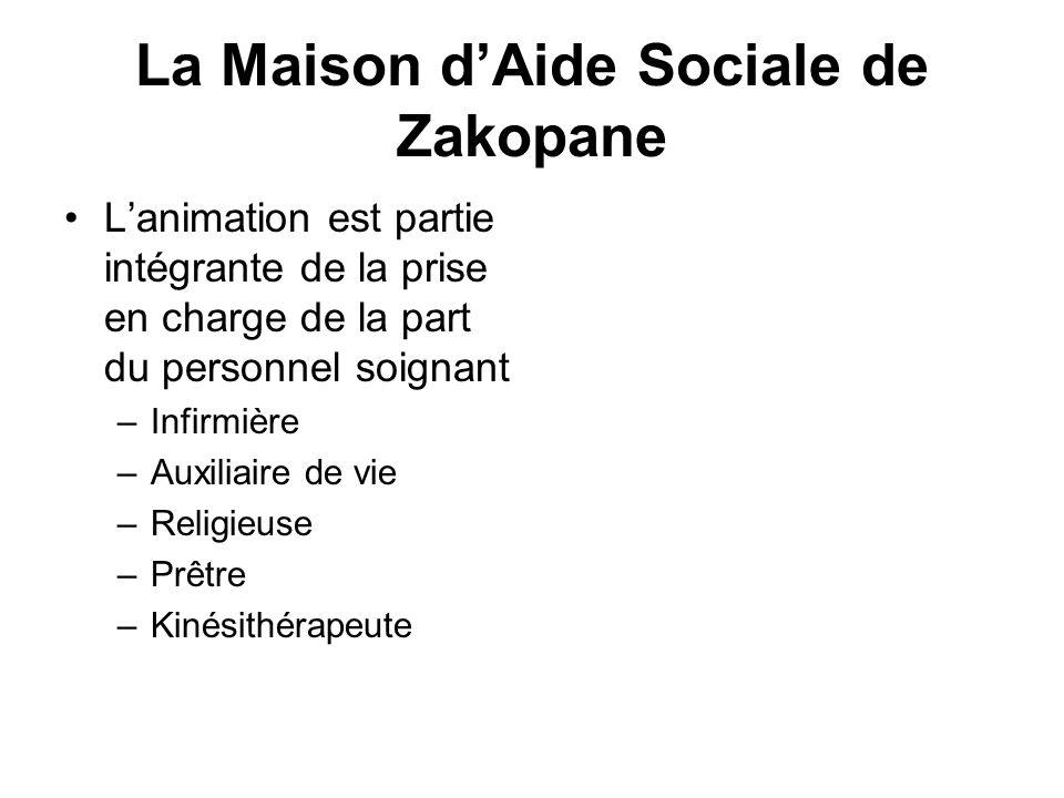 La Maison dAide Sociale de Zakopane Lanimation est partie intégrante de la prise en charge de la part du personnel soignant –Infirmière –Auxiliaire de
