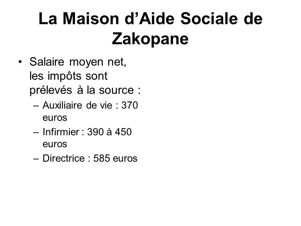 La Maison dAide Sociale de Zakopane Salaire moyen net, les impôts sont prélevés à la source : –Auxiliaire de vie : 370 euros –Infirmier : 390 à 450 eu