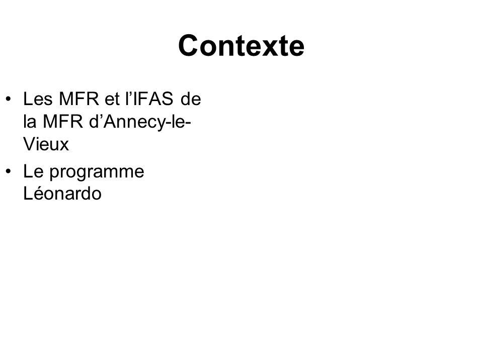 Contexte Les MFR et lIFAS de la MFR dAnnecy-le- Vieux Le programme Léonardo