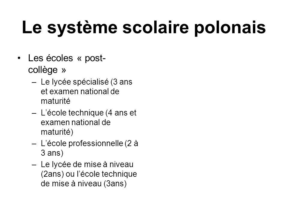 Le système scolaire polonais Les écoles « post- collège » –Le lycée spécialisé (3 ans et examen national de maturité –Lécole technique (4 ans et exame