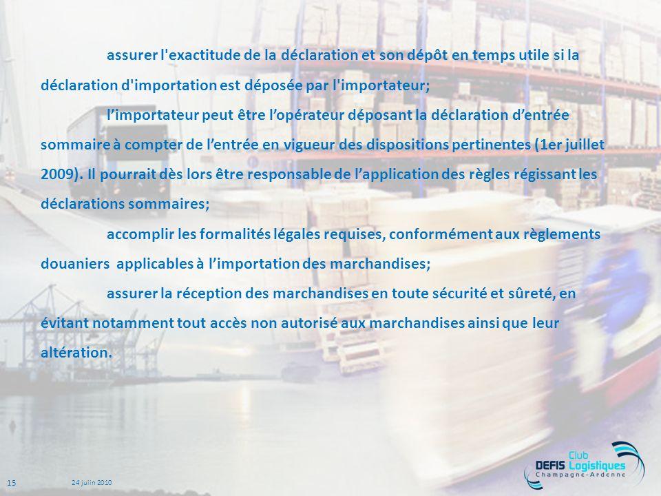 15 24 juiin 2010 assurer l exactitude de la déclaration et son dépôt en temps utile si la déclaration d importation est déposée par l importateur; limportateur peut être lopérateur déposant la déclaration dentrée sommaire à compter de lentrée en vigueur des dispositions pertinentes (1er juillet 2009).