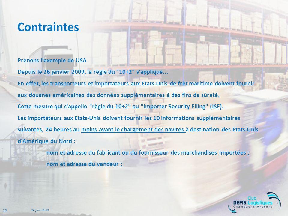 25 24 juiin 2010 Contraintes Prenons lexemple de USA Depuis le 26 janvier 2009, la règle du 10+2 s applique...