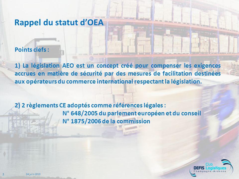 3 24 juiin 2010 Rappel du statut dOEA Points clefs : 1) La législation AEO est un concept créé pour compenser les exigences accrues en matière de sécurité par des mesures de facilitation destinées aux opérateurs du commerce international respectant la législation.