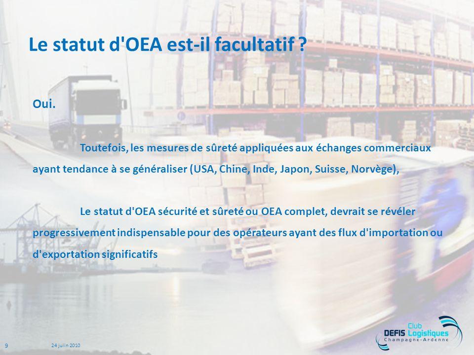 9 24 juiin 2010 Le statut d OEA est-il facultatif .