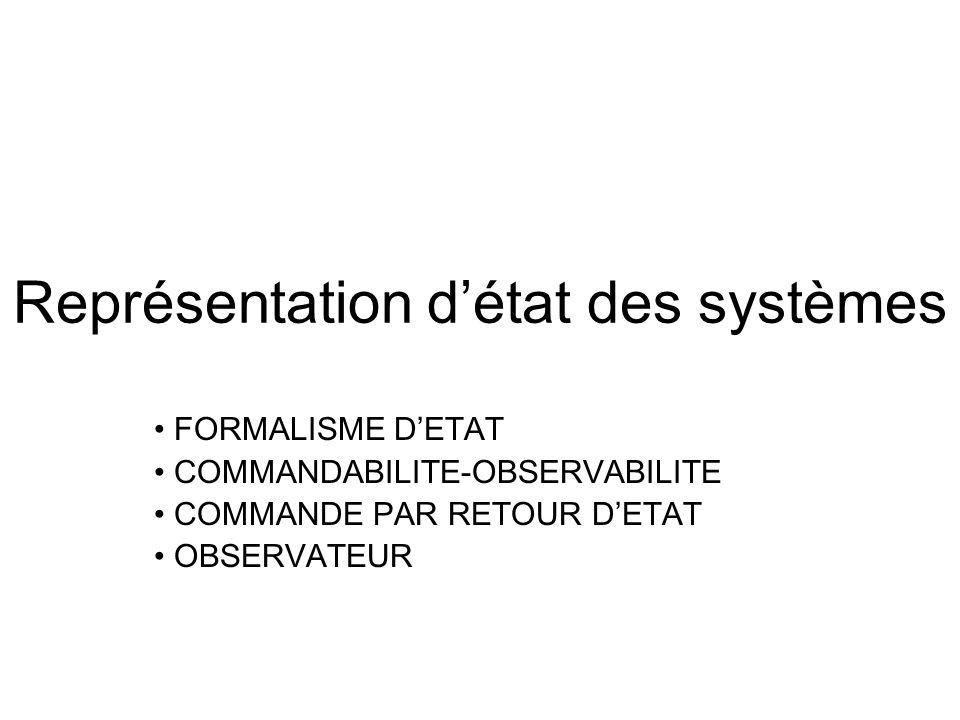 Représentation détat des systèmes FORMALISME DETAT COMMANDABILITE-OBSERVABILITE COMMANDE PAR RETOUR DETAT OBSERVATEUR