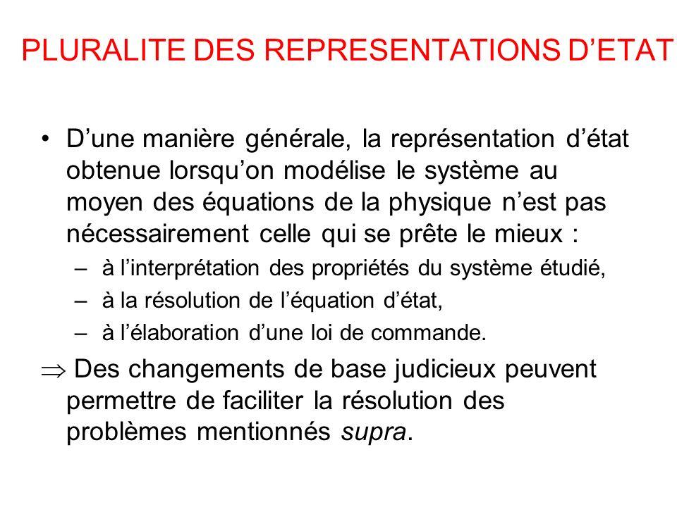 PLURALITE DES REPRESENTATIONS DETAT Dune manière générale, la représentation détat obtenue lorsquon modélise le système au moyen des équations de la p