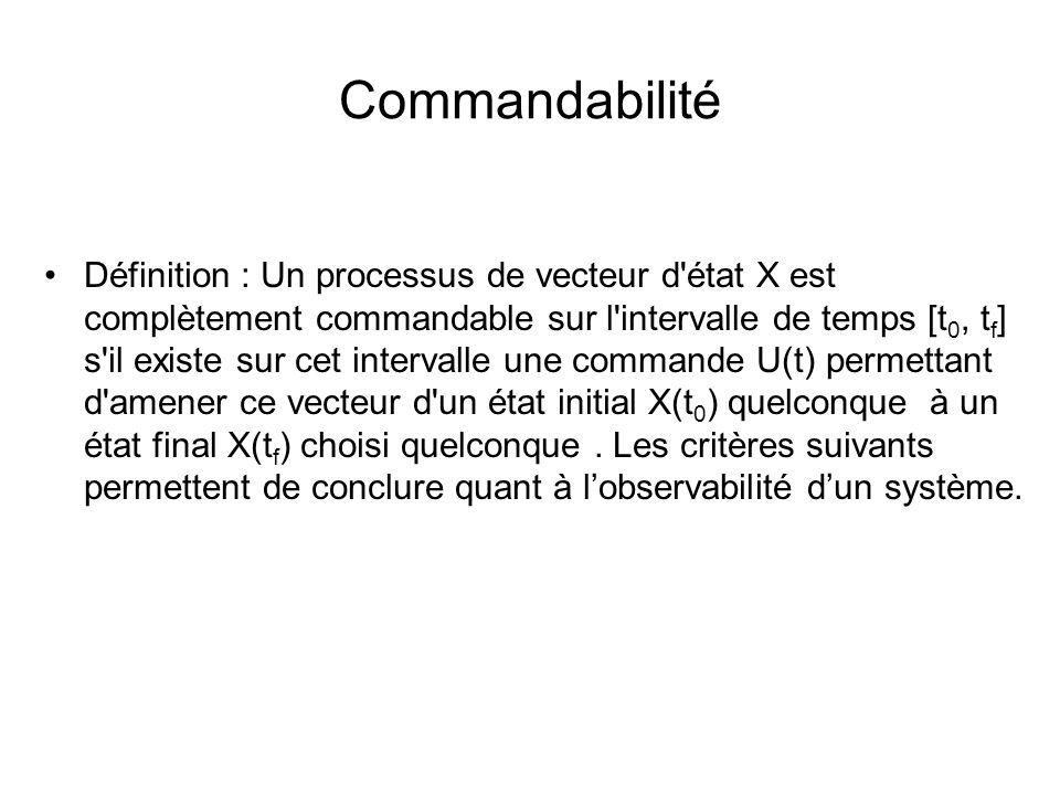 Commandabilité Définition : Un processus de vecteur d'état X est complètement commandable sur l'intervalle de temps [t 0, t f ] s'il existe sur cet in