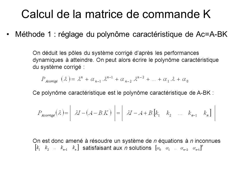 Méthode 1 : réglage du polynôme caractéristique de Ac=A-BK Calcul de la matrice de commande K On déduit les pôles du système corrigé daprès les perfor