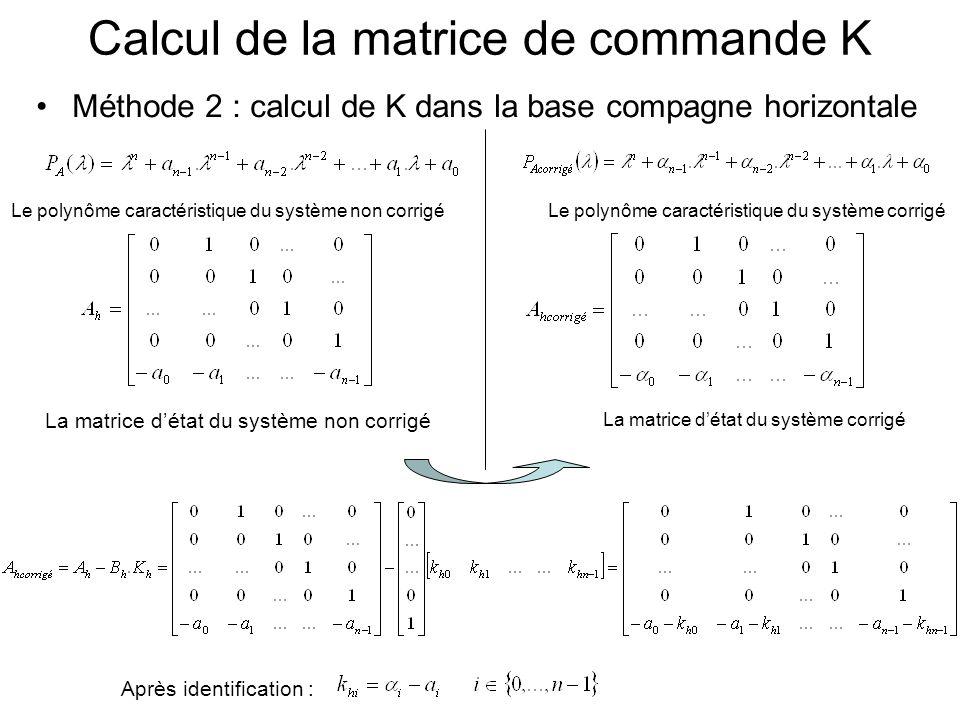 Méthode 2 : calcul de K dans la base compagne horizontale Calcul de la matrice de commande K La matrice détat du système non corrigé La matrice détat