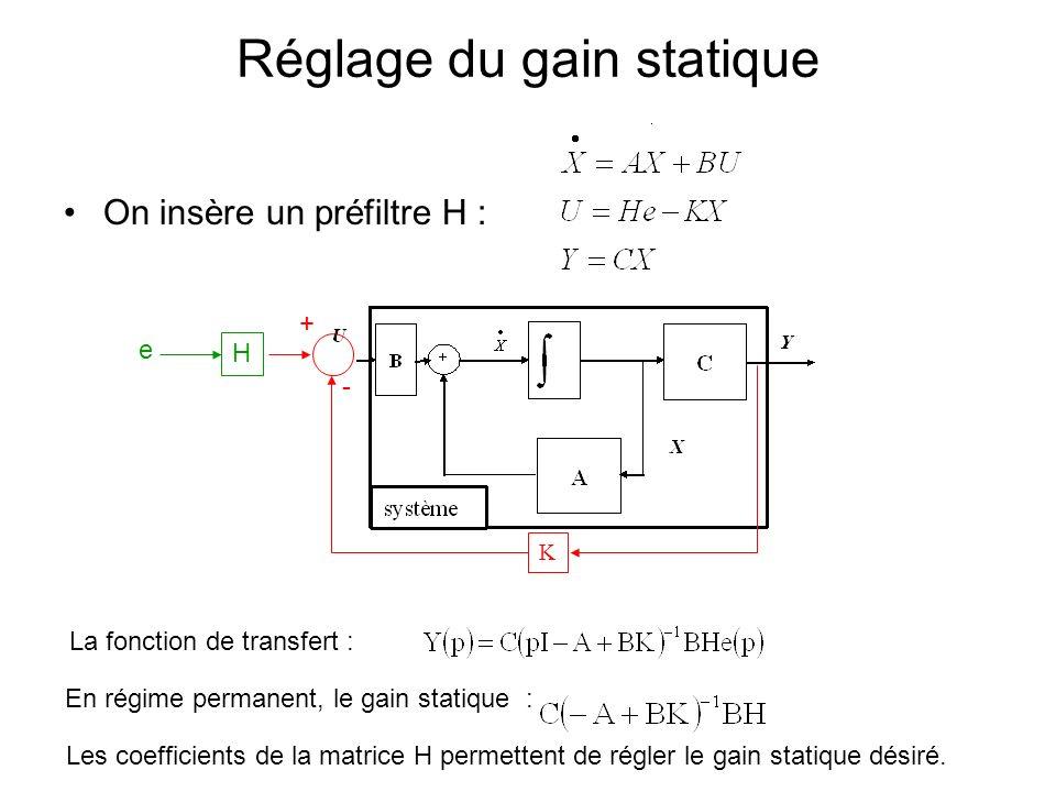 Réglage du gain statique On insère un préfiltre H : K + - H La fonction de transfert : En régime permanent, le gain statique : e Les coefficients de l
