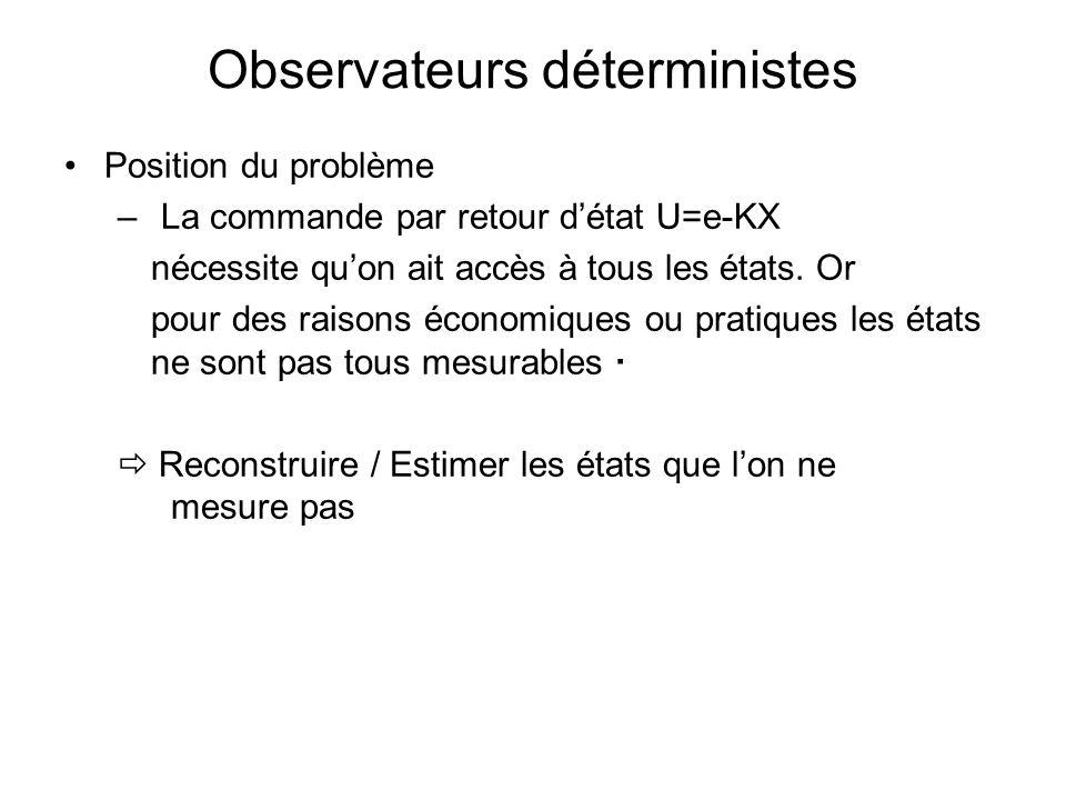 Observateurs déterministes Position du problème – La commande par retour détat U=e-KX nécessite quon ait accès à tous les états. Or pour des raisons é