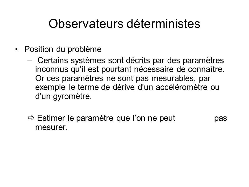 Observateurs déterministes Position du problème – Certains systèmes sont décrits par des paramètres inconnus quil est pourtant nécessaire de connaître