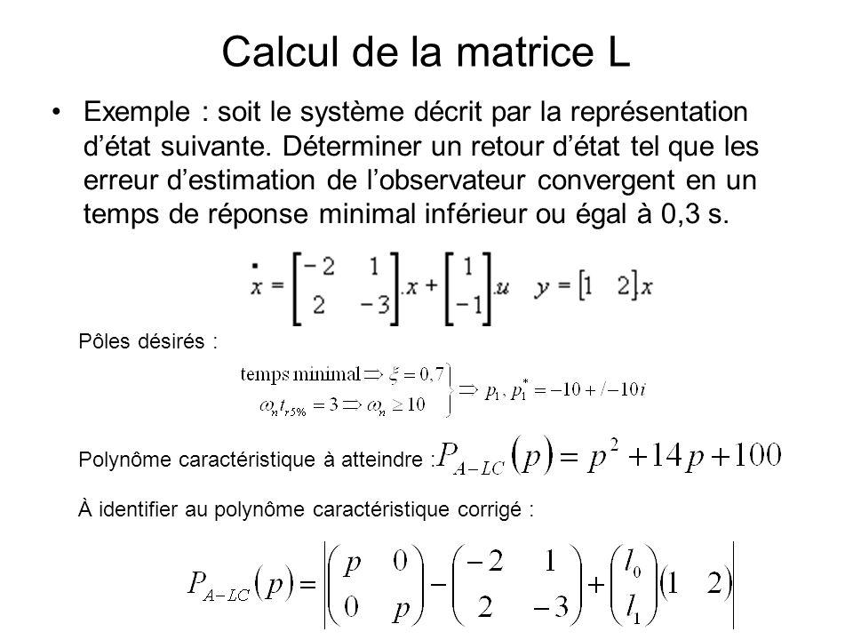 Calcul de la matrice L Exemple : soit le système décrit par la représentation détat suivante. Déterminer un retour détat tel que les erreur destimatio