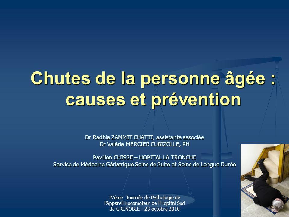 IVème Journée de Pathologie de l Appareil Locomoteur de l Hopital Sud de GRENOBLE - 23 octobre 2010 (3) facteurs précipitants Facteurs intrinsèques : Facteurs intrinsèques : * Iatrogénie +++ : * Iatrogénie +++ : - Médicaments (4 et +, dont les psychotropes) - HTO +++ : les anti-hypertenseurs, les antidépresseurs, L dopa… - Hypoglycémiants, troubles métaboliques, de rythmes et de conductions * HTO : +++ (hypovolémie, dysautonomie) * HTO : +++ (hypovolémie, dysautonomie) (cause de chute dans 10 à 15% des cas) * Pathologies aigues : neurologiques, cardiovasculaires, vestibulaires (vertiges), Métaboliques (hyponatrémie..), infectieuses…